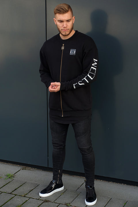 BLACK OVERSIZED ZIP SWEATER