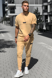 CAMEL PATCH SWEATPANTS