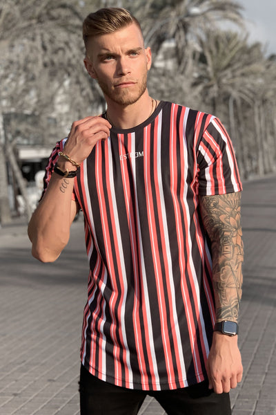 CORAL STRIPED TEE