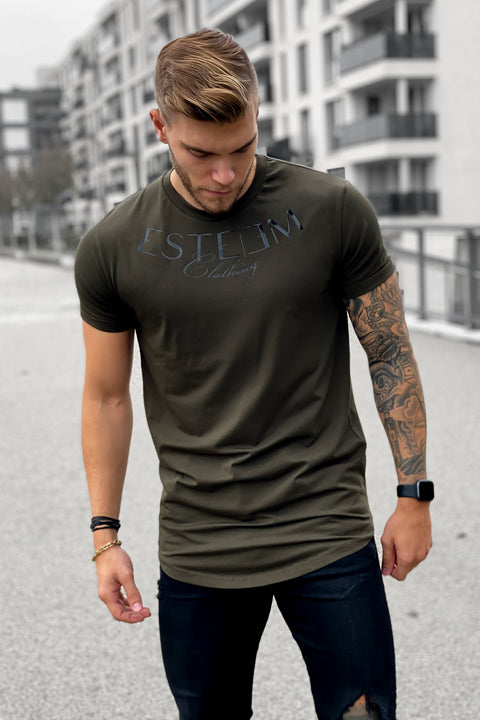 "DARK KHAKI ""ESTEEM CLOTHING"" TEE"