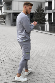 GREY NEON BASIC SWEATER