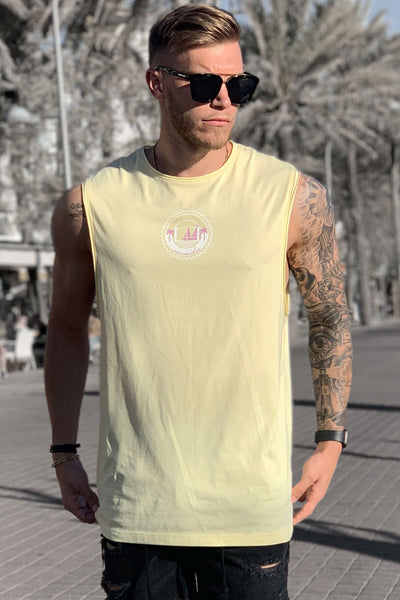 "LIGHT YELLOW ""SUNSEEKER"" TANK TEE"