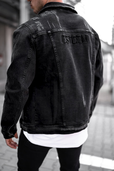WASHED BLACK DESTROYED JEANS JACKET