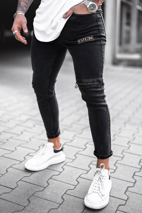 WASHED BLACK ZIP JEANS