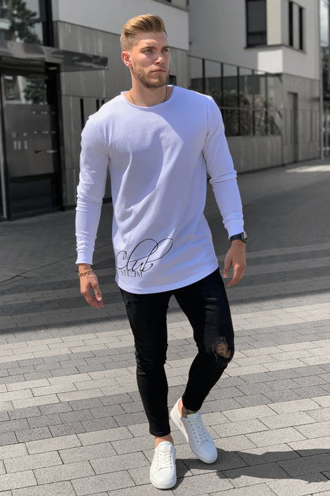 "WHITE ""ESTEEM CLUB"" LS TEE"