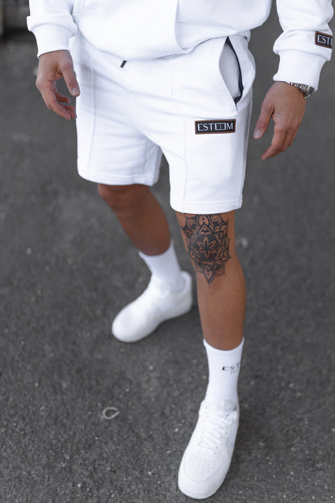 WHITE PATCH SWEATSHORTS