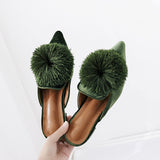 Faux Fur Pom Pom Women Flats Pointed Toe Flat Velvet Mules Women Slip on Women Flats Shoes Elegant Women Shoes SWA0004