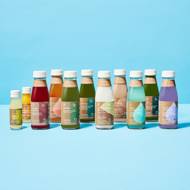 A lineup of cold-pressed juices, lemonades, wellness shots, and almond milk. The gentle cleanse will fill your day with healthy nutrients, but is perfect for beginners.