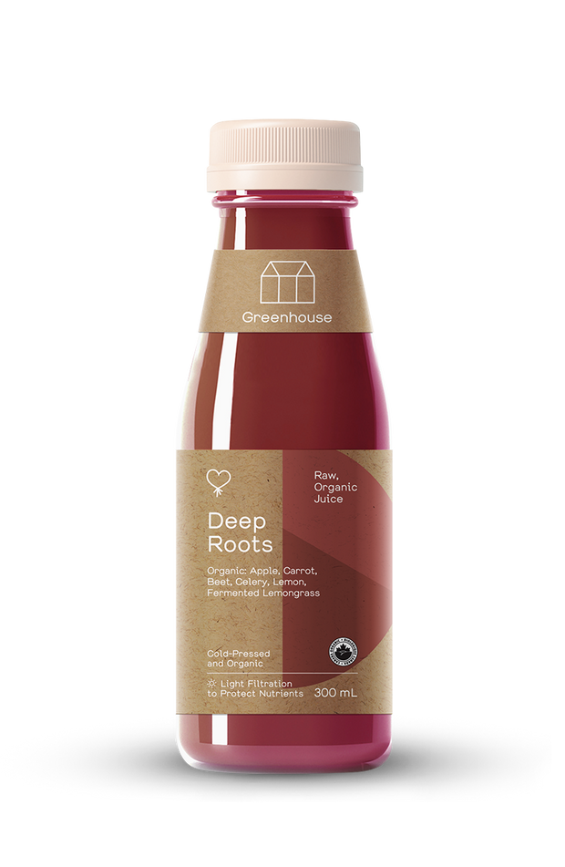 Cold-pressed juice made with organic beets, apples, carrots, and fermented lemongrass. Delicious and delightful. Sweet and earthy and balanced.