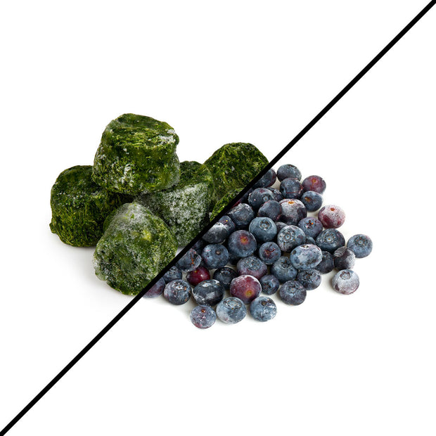 Frozen organic blueberries and spinach to make smoothies and more at home.