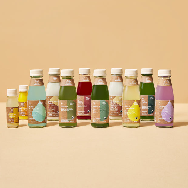 A lineup of cold-pressed juices, lemonades, wellness shots, and almond milk. The standard cleanse will fill your day with nutrients without leaving you feeling hangry.