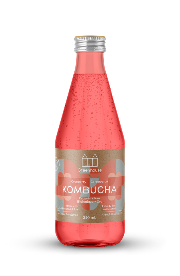 Organic cranberry kombucha made with organic cranberries and infused with vegan probiotics. A sparkling beverage great for gut health.
