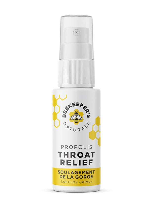 A propolis throat spray from Beekeeper's Naturals. Contains over 300 beneficial vitamins, minerals, and compounds, making it a great defense during sniffles season.