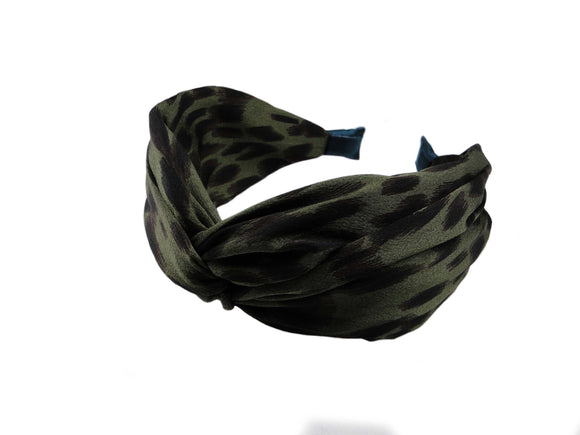 Green Leopard Twist Headband