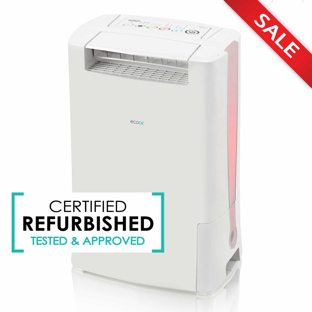 EcoAir DD128 Desiccant Dehumidifier with Ioniser and Silver Filter, 8L per day - Red - Certified Refurbished - Like New