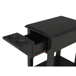 Carmen Side Table w/ Cupholders - Black