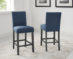 "Candace & Basil Furniture |  Avery 24"" Counter Stools (Set of 2) - Blue"