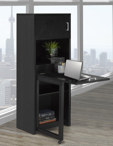 Bookcase w/ Foldout Desk - Black