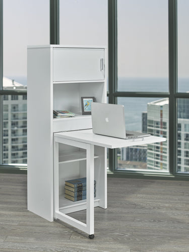 Bookcase w/ Foldout Desk - White