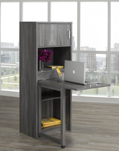 Bookcase w/ Foldout Desk - Grey
