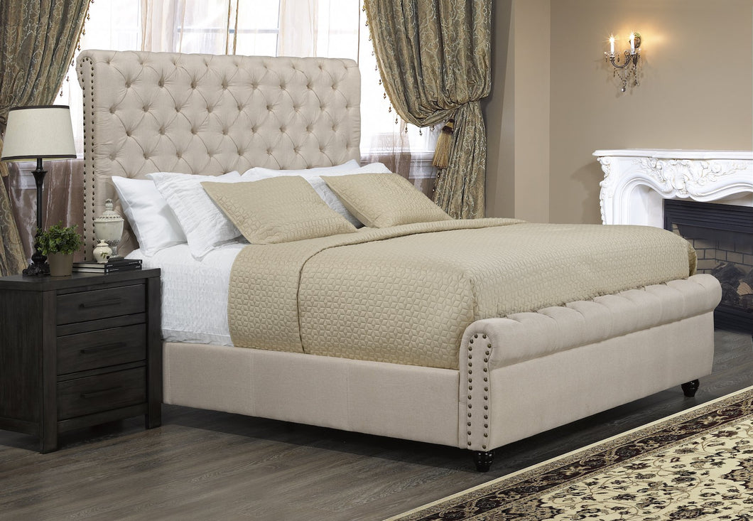Candace & Basil Furniture |  Tiffany Platform King Bed Frame - Beige Linen