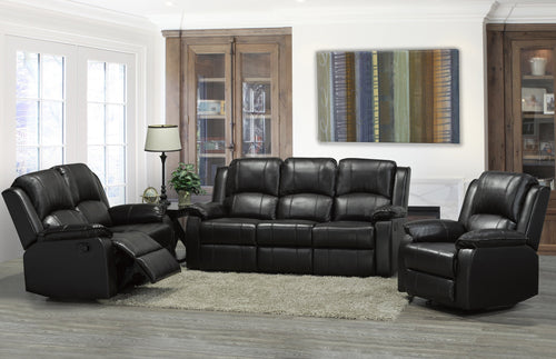 Alexandra Reclining Sofa Series - Black Leatherette