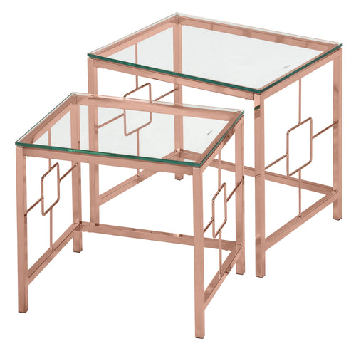 Candace & Basil Furniture |  2Pc Nesting Tables - Rose Gold