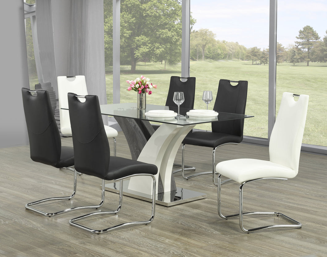 Jerome 7pc Dining Set (White or Black Chairs)