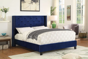 Candace & Basil Furniture |  Edward Platform Queen Bed Frame - Blue Velvet