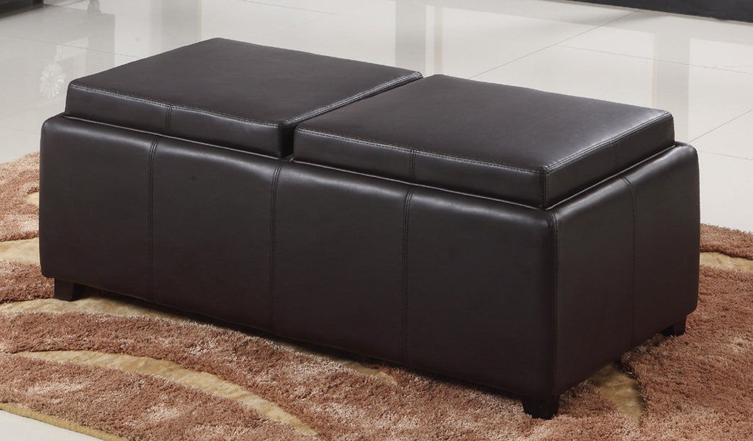 Double Tray Ottoman - Brown