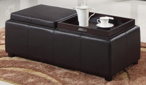 Candace & Basil Furniture |  Double Tray Ottoman - Brown