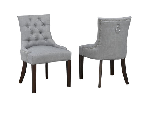 Candace & Basil Furniture |  Royal Side Chair (Set of 2) - Grey Linen