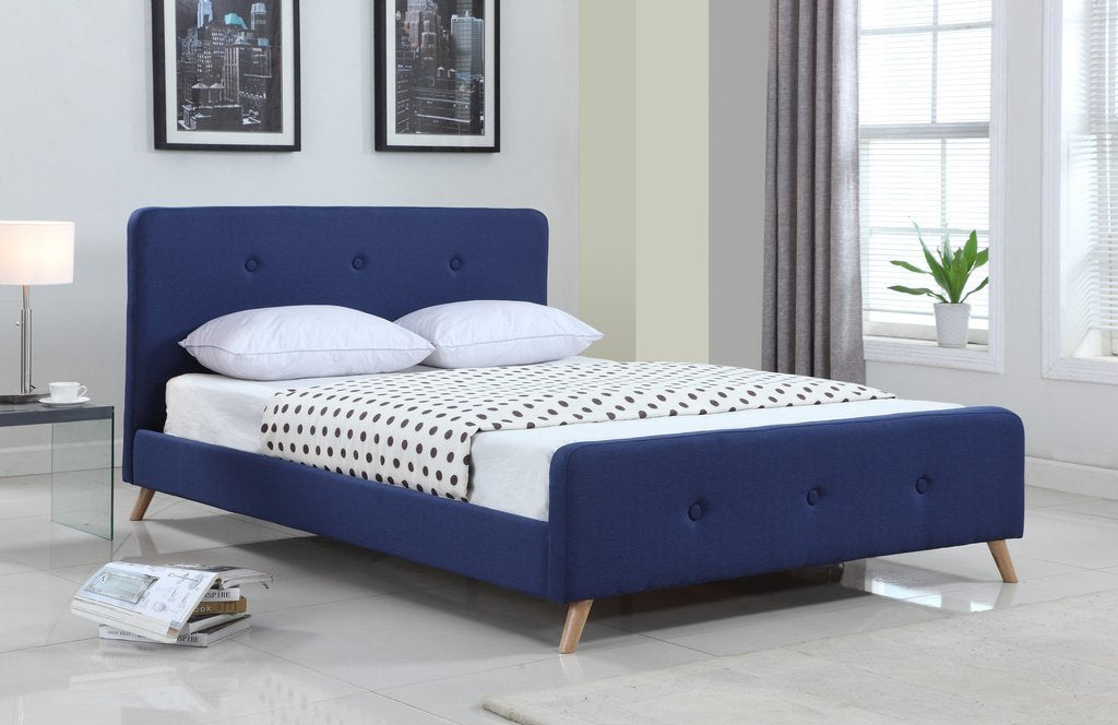 Candace & Basil Furniture |  Jameson Platform Queen Bed Frame - Navy Linen