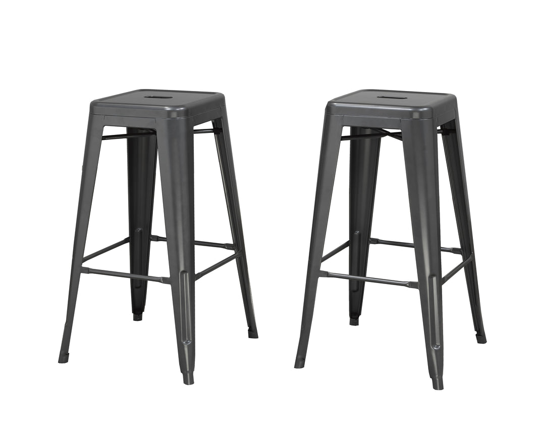 Stackable Metal Counter Stools (Set of 2) - Matte Grey