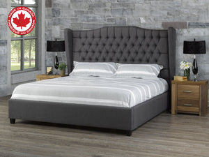 C&B Kailua King Platform Bed - Dark Grey Linen