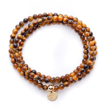 Load image into Gallery viewer, Amuleto Tiger's Eye Wrap Bracelet - Small bead