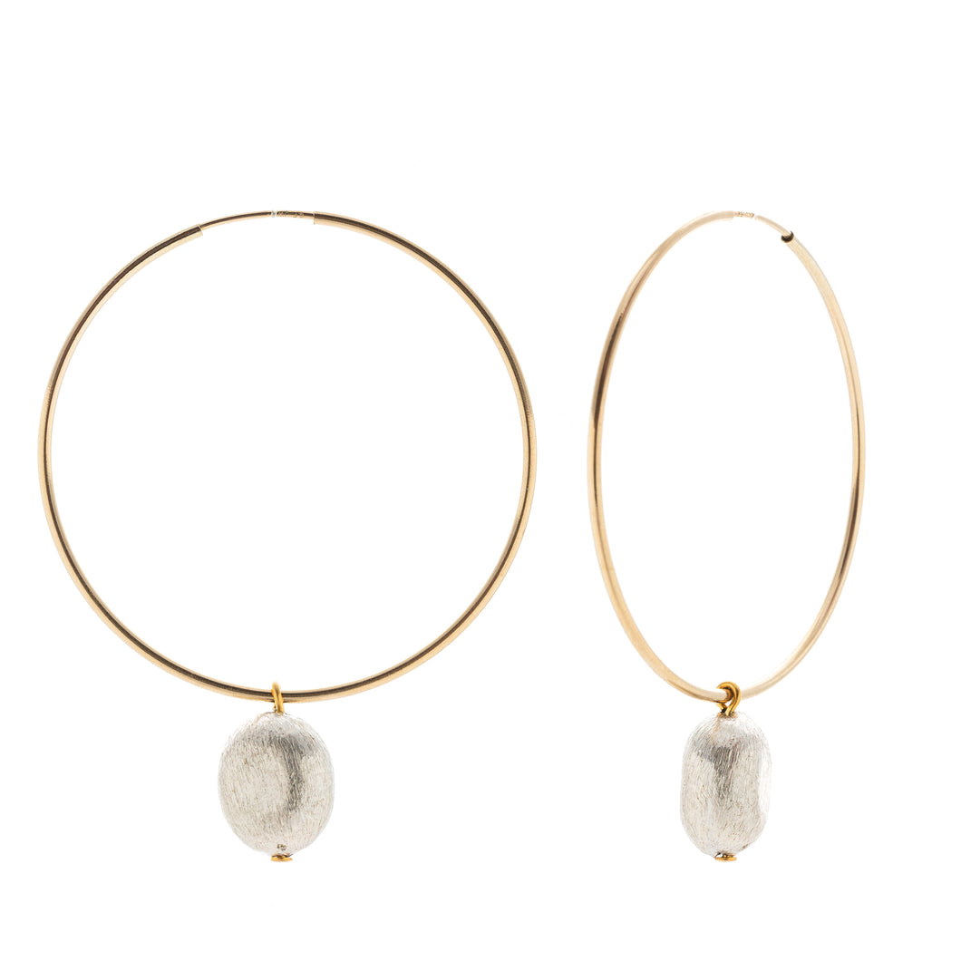 Full Hoop Earrings - Puffed oval