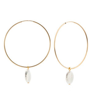 Full Hoop Earrings - Flat circle charm