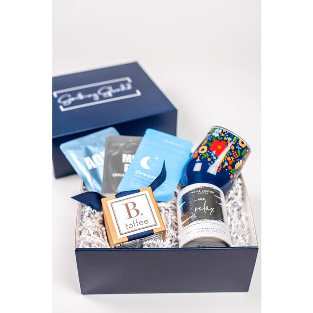 Something Splendid Girls Night In gift box zoomed in with face masks wine tumbler toffee candle