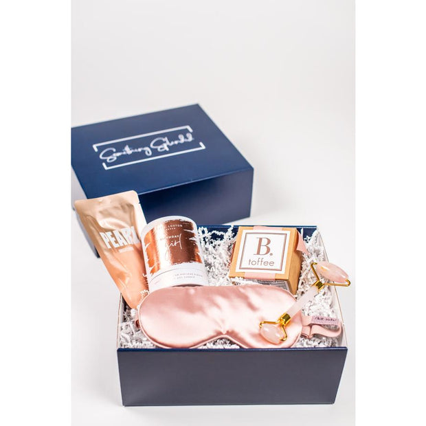 Something Splendid Birthday Girl gift box zoomed in with face mask candle toffee face roller