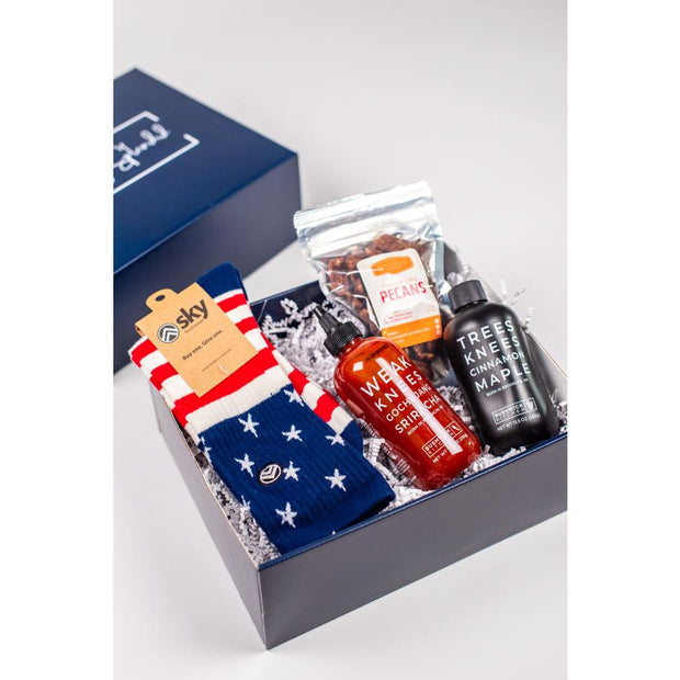 Something Splendid Hot Stuff gift box zoomed in with socks sriracha pecans