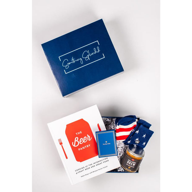 Something Splendid Nothing Without Brew gift box beer cookbook playing cards socks grill rub