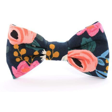 The Foggy Dog - Rosa Floral Navy Bow Tie