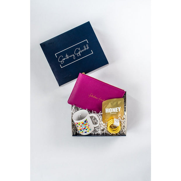 Something Splendid Fabulous Friend gift box pouch coffee mug face mask teleties