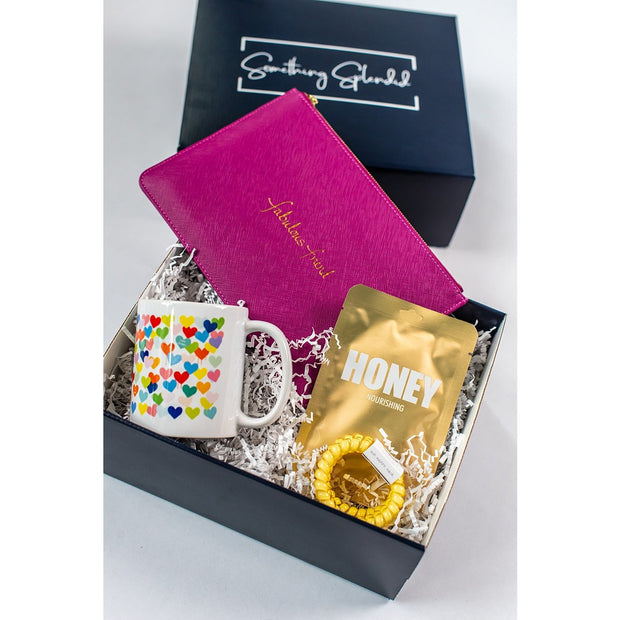 Something Splendid Fabulous Friend gift box zoomed in with pouch coffee mug face mask teleties