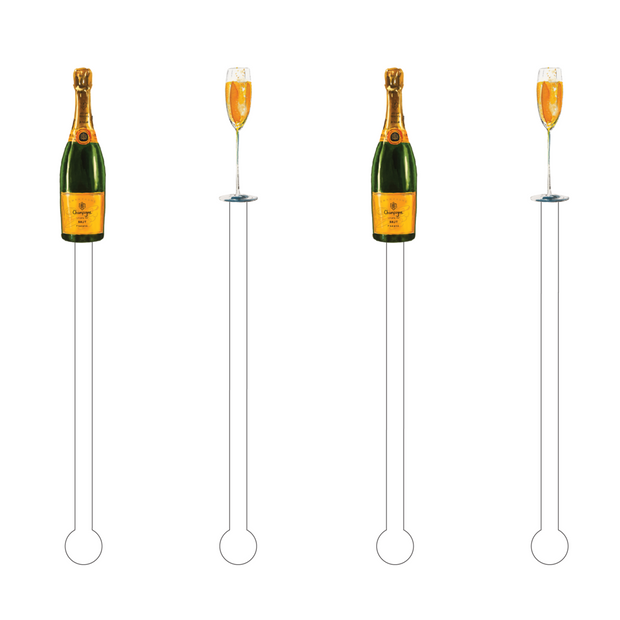 Something Splendid Acrylic Stir Sticks Champagne bottles and flutes