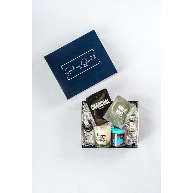 Something Splendid Lets Celebrate gift box face masks teleties candle candy matches