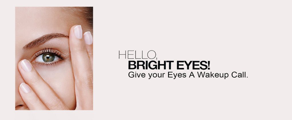 A woman with Nanocolor 3D Eyebrows with the title: Hello Bright Eyes! Give your eyes a wakeup call.