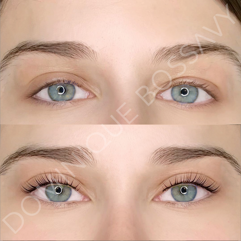 Before and after image of a woman using Nanocolor eyeliner