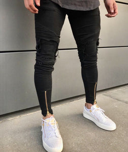 "Distressed ""No-Show"" Slim Jeans - INKOSI-APPAREL"